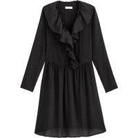 shop for Ruffled Wrapover Midi Dress with Long Sleeves at Shopo