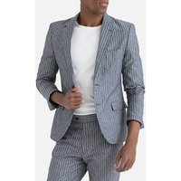 Single-Breasted Fitted Suit Jacket in Striped Cotton/Linen