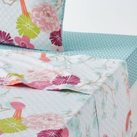 Miss China Floral Cotton Flat Sheet