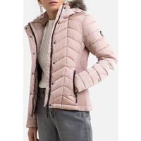 Zip-Up Padded Jacket with Faux Fur Trimmed Hood