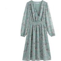 shop for Floral Print Wrapover Midi Dress at Shopo