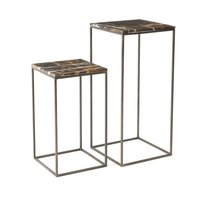Ambrette Amber Marble Side Tables (set of 2)