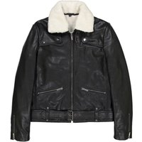 Leather Faux Shearling Aviator Jacket