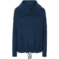 blu pavone;grigio chiaro chiné donna Pull loose collo a dolcevita fine maglia