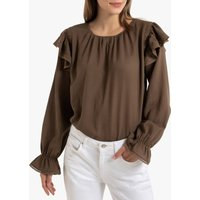 shop for Long-Sleeved Ruffled Blouse with Lace Finish at Shopo