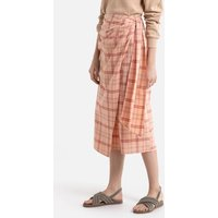 Cotton/Linen Wrapover Skirt in Checked Print