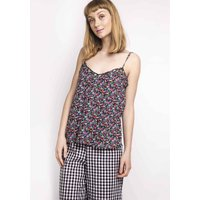 Floral Print Round Neck Camisole Top with Shoestring Straps