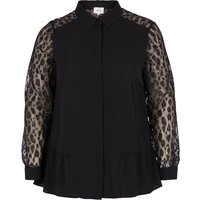 Shirt with Mesh Leopard Print Sleeves