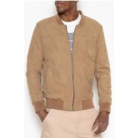Straight Cut Faux Suede Zip-Up Bomber Jacket