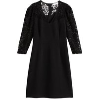 shop for Lace Panel Dress with V-Neck and 3/4 Length Sleeves at Shopo