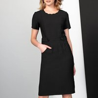 Belted Fitted Dress With Scalloped Neck