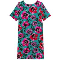 Shift Mini Dress with Short Sleeves in Floral Print