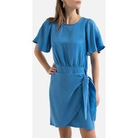 Tie-Waist Mini Dress with Ruffled Short Sleeves