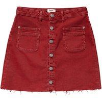 Denim Buttoned Mini Skirt with Distressed Hem