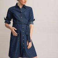 Maternity Shirt Dress in Lightweight Denim