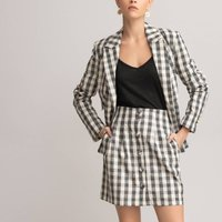 Cotton/Linen Mini Skirt in Gingham Check with Button Fastening