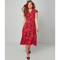 Floral Midi Shirt Dress with Short Sleeves