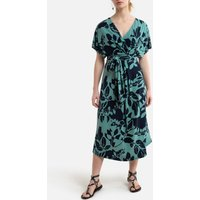 Printed V-Neck Dress with Short Sleeves