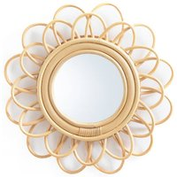 Nogu Double Flower Rattan Mirror, Diameter 35cm