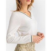 Camiseta con cuello de pico, de algodón y modal