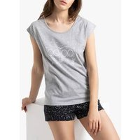 Pijama estampado de manga corta con short
