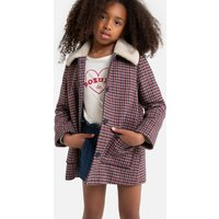Checked Coat with Faux Fur Collar, 3-14 Years
