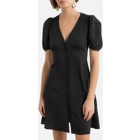 Buttoned Mini Dress with V-Neck and Short Sleeves