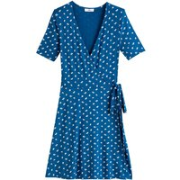 Floral Print Wrapover Dress with Short Sleeves