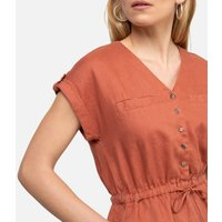 Linen Shift Dress with Short Sleeves