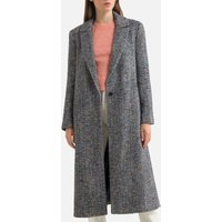Wool Mix Extra Long Coat with Button Fastening