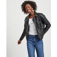 Short Zip-Up Jacket in Faux Leather.