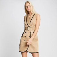 Sleeveless Belted Trench Dress with Tailored Collar
