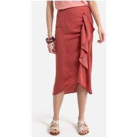 Ruffled Asymmetric Midi Skirt in Jacquard.
