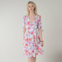 Floral Print Dress with V-Neck and Short Sleeves