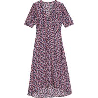 Floral Mid-Length Dress with V-Neck and Short Puff Sleeves