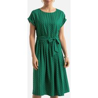 Printed Mid-Length Full Dress with Short Sleeves