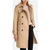 Long Cotton Water-Repellent Trench Coat with Pockets
