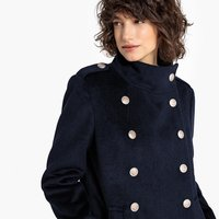 Military Double-Breasted Coat in Wool Mix