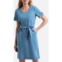 Lightweight Denim Shift Dress with Short Sleeves