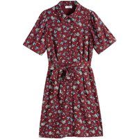 Floral Print Shirt Dress with Short Sleeves