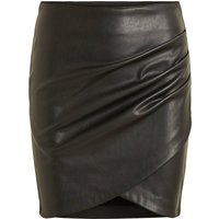 Faux Leather Mini Skirt with Ruched Detail