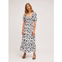 Printed Cotton Midi Dress with Square Neck and Short Puff Sleeves