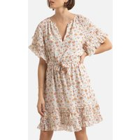 Floral Print Mini Dress with Short Sleeves and V-Neck