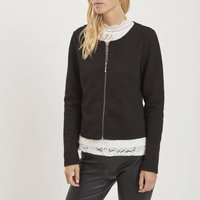 Short Collarless Quilted Jacket.