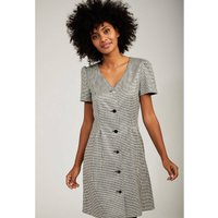 Button-Through Houndstooth Dress with Short Sleeves