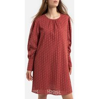 Cotton Short Shift Dress in Broderie Anglaise with Long Sleeves