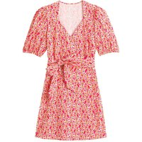 Floral Cotton Wrapover Dress with Short Puff Sleeves and Tie-Waist