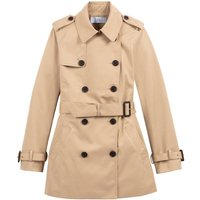 Short Cotton Trench Coat with Pockets