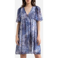 Printed Mini Dress with Short Sleeves and V-Neck