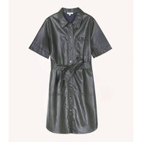 Knee-Length Shirt Dress with Short Sleeves